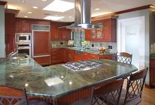 Traditional Kitchen with Multiple Sinks, Paint 1, specialty door, Dark green marble countertop, Skylights, Frameless