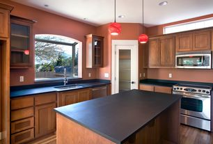 Contemporary Kitchen with electric range, Garden window, Garden window, PaperStone Solid Surface Panel in Slate, dishwasher