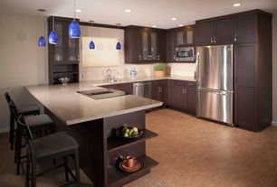 Contemporary Kitchen with can lights, electric cooktop, Paint, U-shaped, Pendant light, Dupont - corian silt, Breakfast bar