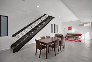 Contemporary Staircase with Metal staircase, Hardwood floors, High ceiling