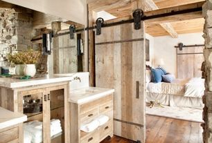 Rustic Master Bathroom with Wall sconce, Hardwood floors, Paint, Standard height, Undermount sink, Glass panel, Wall Tiles