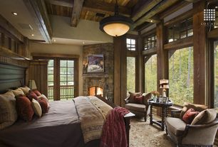 Country Master Bedroom with Ultimate Accents Astoria End Table, Pottery Barn Bradford Bed, Hardwood floors, High ceiling