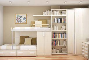 Contemporary Kids Bedroom with Nurseryworks duet twin bed, Laminate floors, Versatile by bestar 36'' corner storage unit