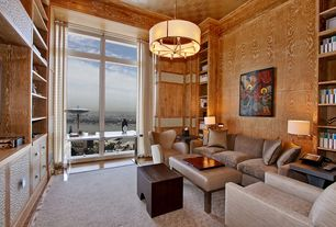 Contemporary Living Room with interior wallpaper, Built-in bookshelf, High ceiling, Crown molding, Chandelier