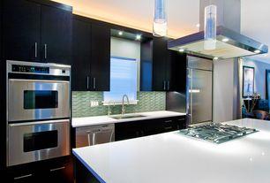Contemporary Kitchen with Pental Super White Quartz, Flush, Kitchen island, High ceiling, Quartz counters, European Cabinets