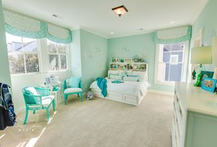 Tropical Kids Bedroom with flush light, Pottery Barn Teen Beadboard Storage Bed + Hutch, Art desk, Crown molding, Mural