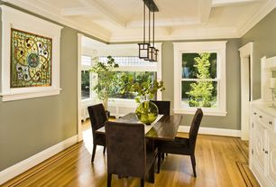 Traditional Dining Room with Box ceiling, Pendant light, Crown molding, Hardwood floors