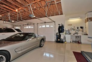 Modern Garage with flush light, Transom window, Pendant light, Concrete floors, specialty door, Carpet, High ceiling