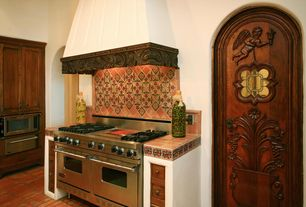 Traditional Kitchen with built-in microwave, full backsplash, Custom hood, Cathedral ceiling, large ceramic tile counters
