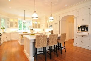 Traditional Kitchen with Flat panel cabinets, Simple Marble, Pendant light, Hardwood floors, Built-in bookshelf, Flush