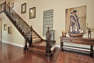 Eclectic Staircase with Standard height, curved staircase, Loft, Bamboo floors, Carpet