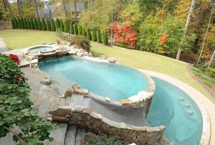 Rustic Swimming Pool with exterior stone floors, Pathway, Fence