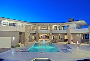 Contemporary Swimming Pool with Outdoor kitchen, Fire pit, Pool with hot tub, picture window, Deck Railing