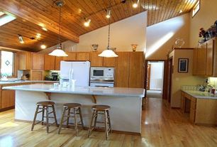 Cottage Kitchen with Pendant light, Large Ceramic Tile, Skylight, High ceiling, Undermount sink, L-shaped, European Cabinets
