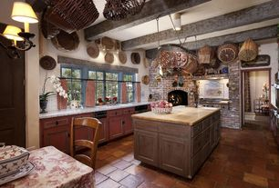 Cottage Kitchen with Botticino classico, Large Ceramic Tile, Raised panel, Wood counters, Chandelier, Flat panel cabinets