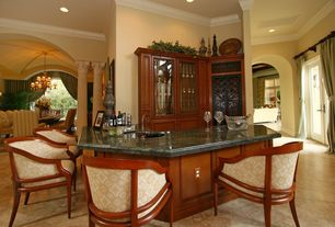 Traditional Bar with travertine tile floors, High ceiling, Built-in bookshelf, Crown molding