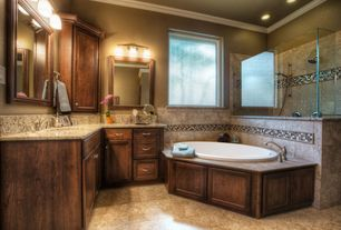 Craftsman Master Bathroom with Handheld showerhead, Crown molding, Choose Frameless Pivot Hinge Shower Door Configurations