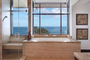 Contemporary Master Bathroom with Handheld showerhead, Master bathroom, Sandstone counters, stone tile floors, picture window