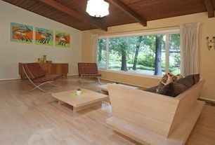 Contemporary Living Room with Exposed beam, flush light, Hardwood floors