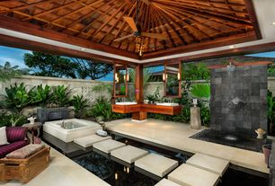 Tropical Master Bathroom with Covered outdoor bathroom, Ceiling fan, Flush, European Cabinets, Rain shower, Wall sconce