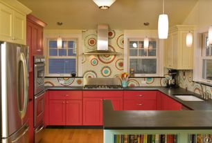 Eclectic Kitchen with Paint 4, Ceramic Tile, European Cabinets, Paint 1, Glass mosaic tile, Flush, Standard height, Wall Hood