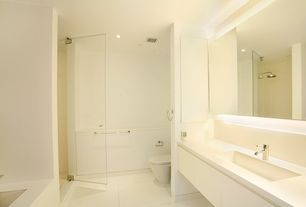 Contemporary Full Bathroom with Standard height, wall-mounted above mirror bathroom light, Full Bath, Limestone counters