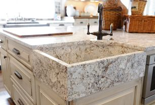 Traditional Kitchen with Ms international - white spring, Bridge faucet, Granite countertop, Cup pull hardware
