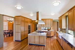 Traditional Kitchen with Flat panel cabinets, Kitchen island, Oak - Butterscotch 2 1/4 in. Engineered Hardwood Strip