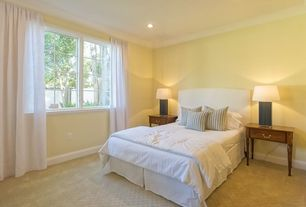Traditional Master Bedroom with Solid Wood Chestnut 1-drawer Side Table/ Nightstand, Carpet, Crown molding
