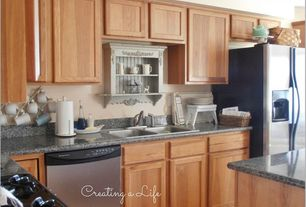 Traditional Kitchen with Flat panel cabinets, electric cooktop, Paint 1, Simple Granite, Simple granite counters, L-shaped