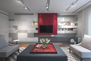 Contemporary Great Room with Built-in bookshelf, Hardwood floors, flush light