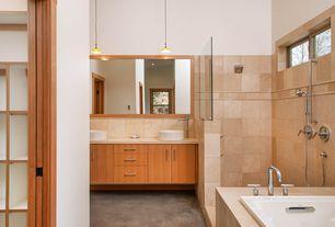 Contemporary Master Bathroom with Concrete floors, Flush, Built-in bookshelf, Master bathroom, Handheld showerhead