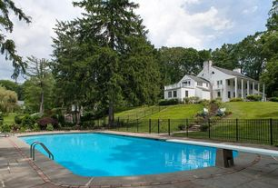 Traditional Swimming Pool with exterior tile floors, French doors, Other Pool Type, Fence, Deck Railing, Gate, Pathway