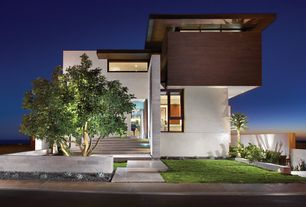 "Contemporary Exterior of Home with American Fiber Cement Corporation, Merrion Myra White / 24""x24""x1/2"" / Honed"
