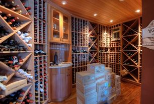 Traditional Wine Cellar with Built-in bookshelf, Hardwood floors
