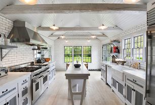 Contemporary Kitchen with Pendant light, Farmhouse sink, Mini-Pendant Light with White Glass Coolie Shade, Kitchen island