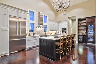 Contemporary Kitchen with Flush, Kitchen island, Flat panel cabinets, Wine refrigerator, Chandelier, Built-in bookshelf