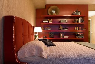 Contemporary Guest Bedroom with Built-in bookshelf