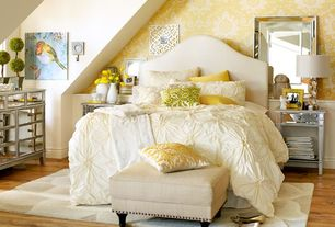 Eclectic Guest Bedroom with Standard height, Wainscotting, Nailhead upholstered headboard, interior wallpaper, Paint