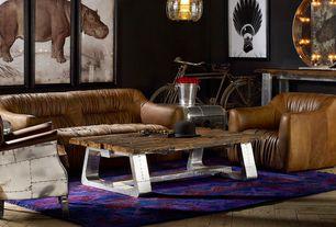 Eclectic Living Room with flush light, Pendant light, Paint, Restoration hardware aviator chair, Hardwood floors