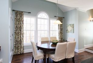 Traditional Dining Room with Hardwood floors, Pendant light, double-hung window, French doors, Standard height