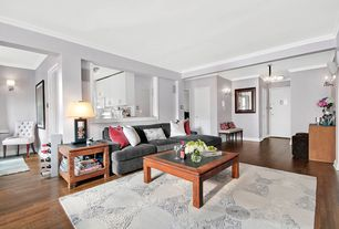 Contemporary Living Room with flush light, flat door, Crown molding, Wall sconce, Chandelier, Standard height