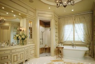Traditional Master Bathroom with Chandelier, Cathedral ceiling, Raised panel, Inset cabinets, ceramic tile floors, Shower