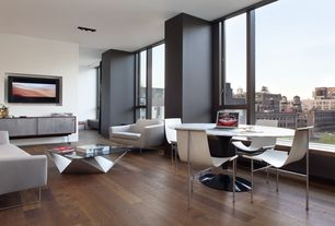 Contemporary Great Room with Noguchi  prismatic table, Window seat, Gratz industries tg-10 sling dining chair