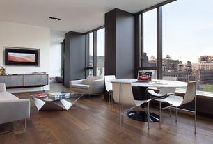 Contemporary Great Room with Noguchi  prismatic table, Knoll - eero saarinen tulip table - carrara marble, black, Window seat