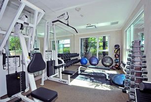 Traditional Home Gym with Crown molding, Carpet