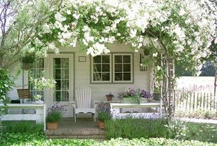 Cottage Porch with Cape Cod Foldable Adirondack Chair, Wrap around porch, Glass panel door, Cottage garden, French doors