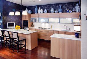 Contemporary Kitchen with Et2 - elements 3-light linear pendant - e95496, Glass panel, Undermount sink, Pendant light, Galley