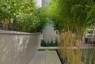 Contemporary Landscape/Yard with Pathway, Fence