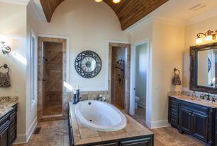 Traditional Master Bathroom with Flat panel cabinets, Designers fountain barcelona 2 light wide bathroom / vanity light